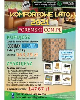 PROMOCJA !!!! Opał kominkowy Brykiet Eco-Pal 756 kg (63 szt. x 12kg) ECOMAX PREMIUM