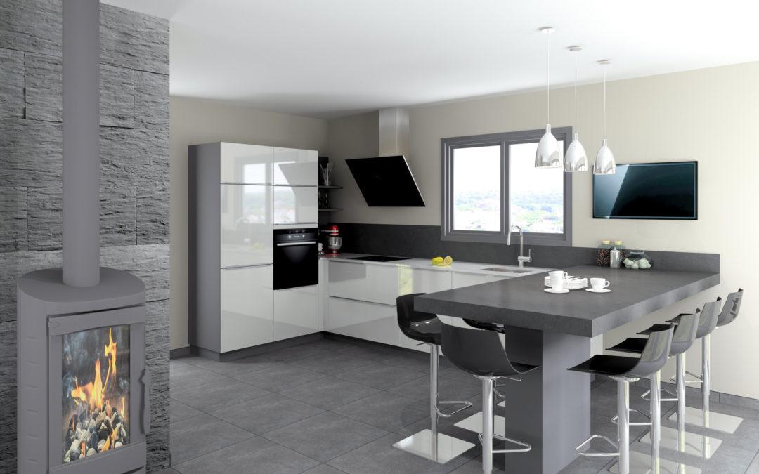 kominek w kuchni. Black Bedroom Furniture Sets. Home Design Ideas